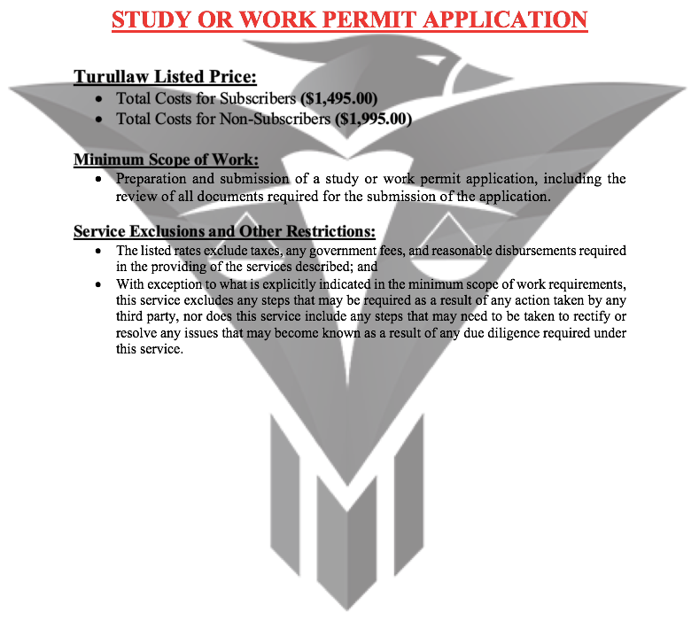 Study or Work Permit Application - (Flat-Rate)