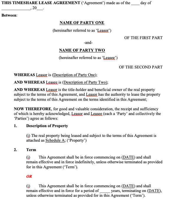 Timeshare Lease Agreement
