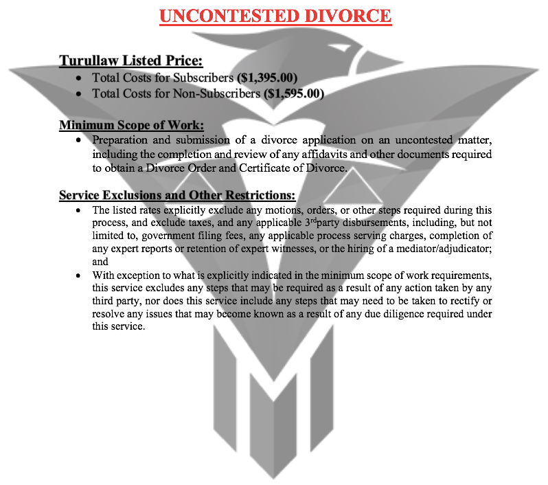 Uncontested Divorce - (Flat-Rate)