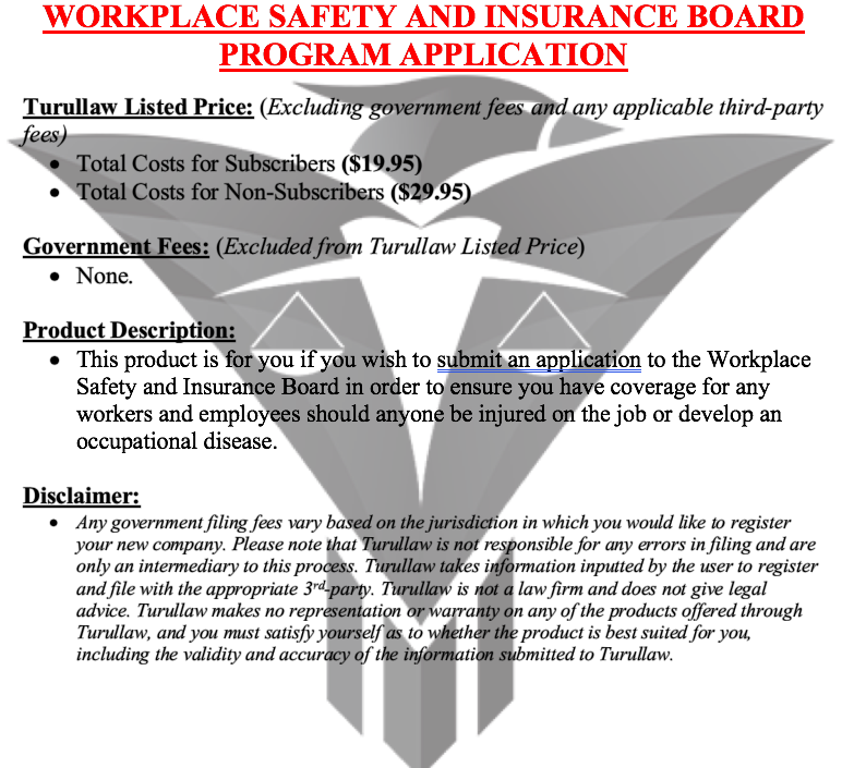Workplace Safety and Insurance Board Program Application (Coming Soon)
