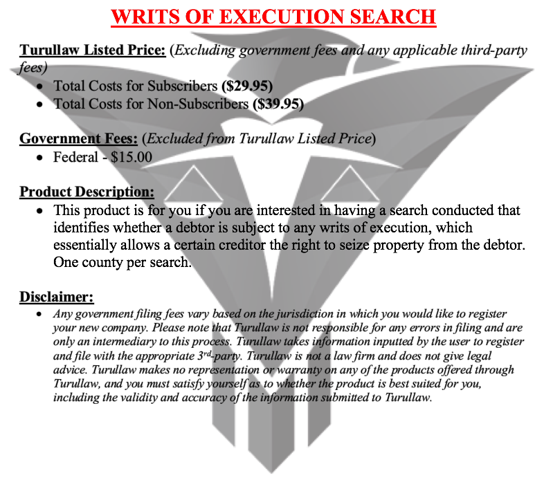 Writs of Execution Searches