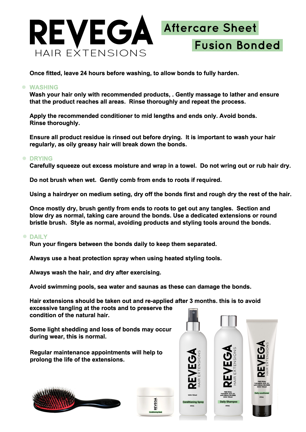Revega Hair Extensions Aftercare