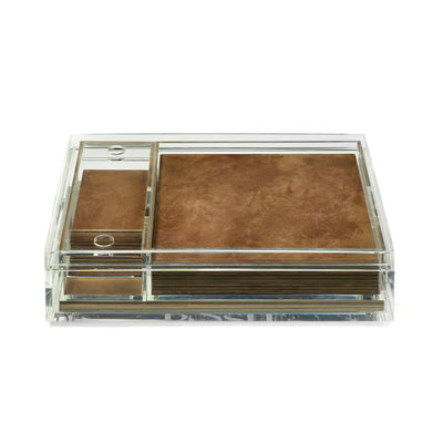 POSH TRADING COMPANY MATBOX CLEAR VINTAGE BRASS