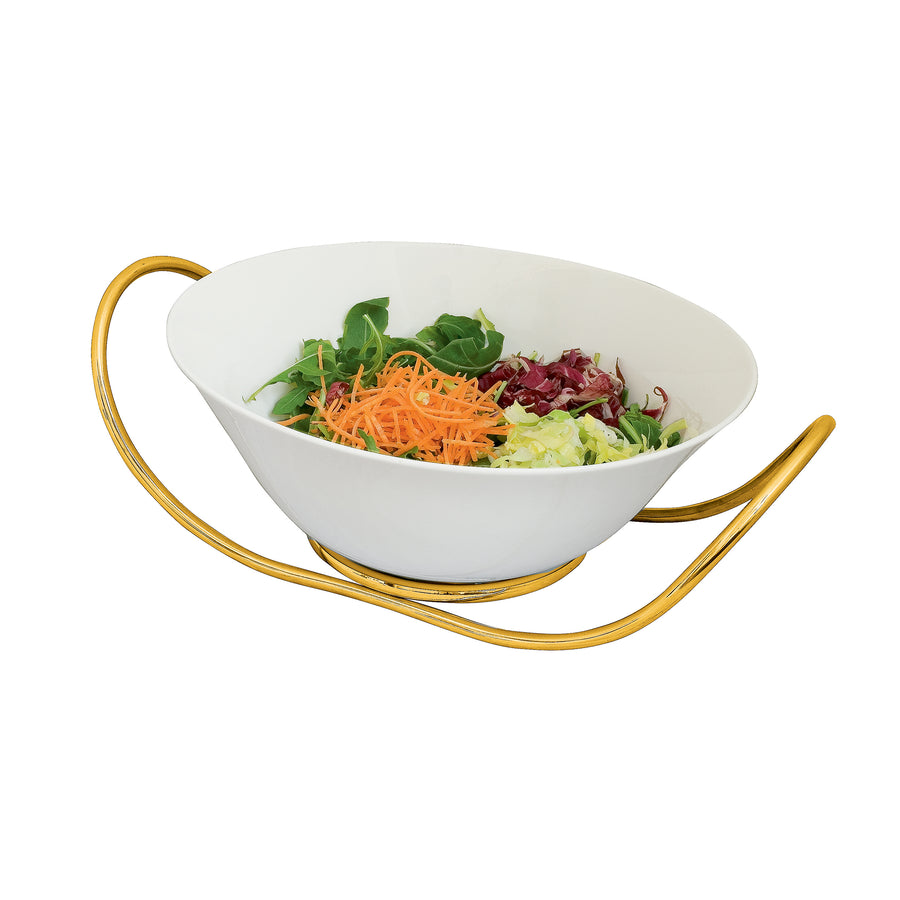Mepra Fine China salad Bowl with multifunction stand Due Ice Oro, Due Oro Nero ,Mepra | Zangheim Ltd.