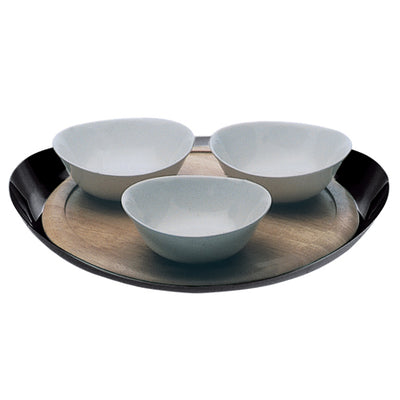Mepra Serving Tray with Board and 3 Porcelain Bowls   Due Ice Oro, Due Oro Nero ,Mepra | Zangheim Ltd.