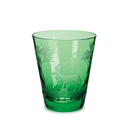 Theresiental Kilimandscharo emerald glass tumbler with kudu ENGRAVING