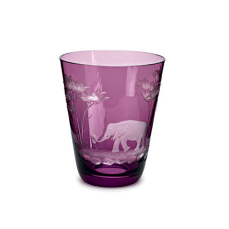 Theresienthal KILIMANDSCHARO AMETHYST GLASS TUMBLER WITH ELEPHANT ENGRAVING