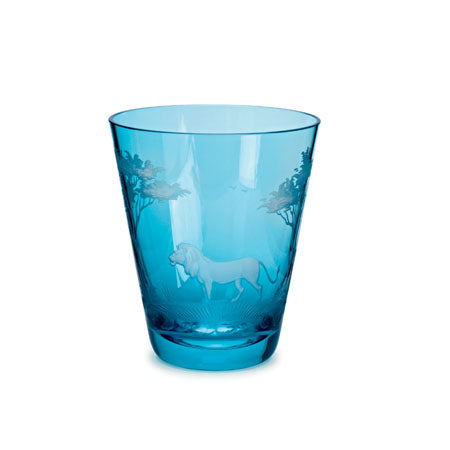 Theresienthal KILIMANDSCHARO AQUAMARINE GLASS TUMBLER WITH LION ENGRAVING