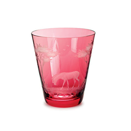Theresienthal Kilimandscharo ruby glass tumbler with zebra engraving