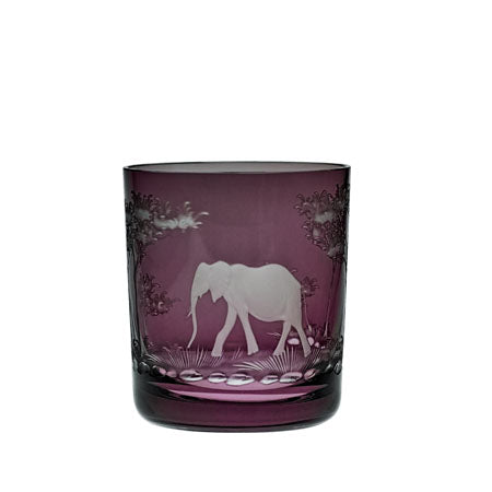 THERESIENTHAL KILIMANDSCHARO AMETHYST WHISKY TUMBLER WITH ELEPHANT ENGRAVING