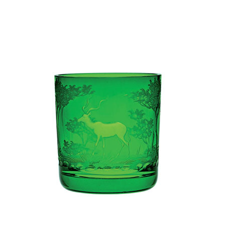 Theresienthal Kilimandscharo emerald whisky tumbler with kudu engraving