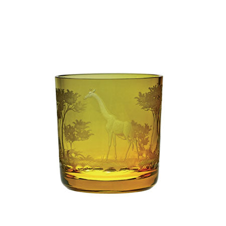 Theresienthal Kilimandscharo tangerine whisky tumbler with giraffe engraving