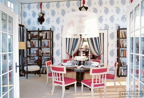 Paisley dining room with Schumacher madras paisley wallpaper