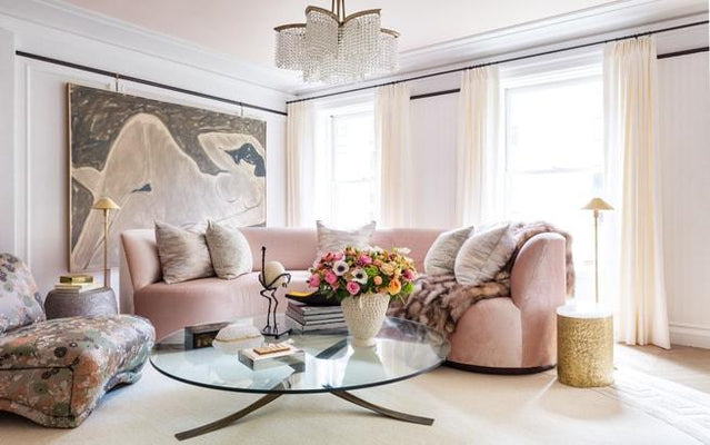 pink curved sofa, robert passal living room for kips bay 2019