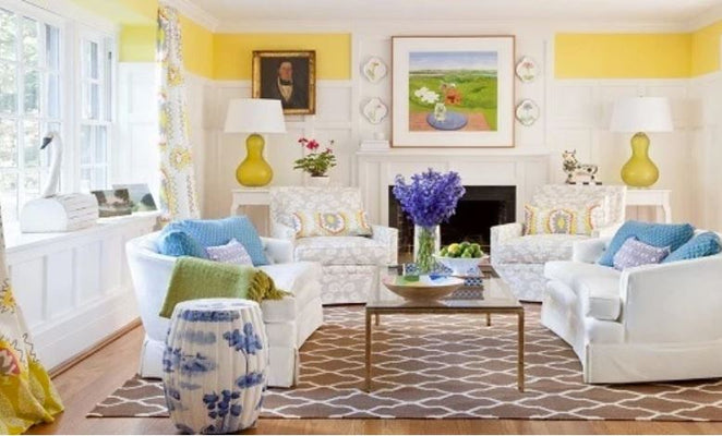 traditional Living room by Dana Gibson with white sofas and blue accents