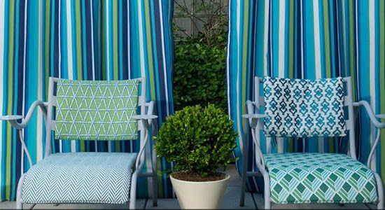 david hicks fabric wallpaper blue white green chairs pool outdoor