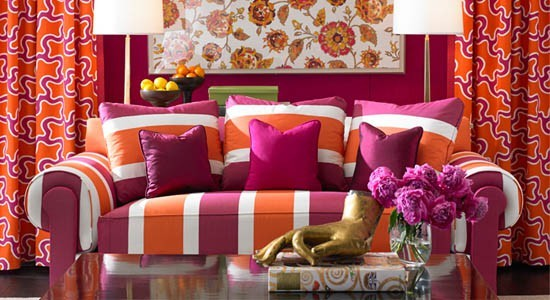 Diane von Furstenberg Kravet Fabrics pink orange white sofa couch cushions curtains