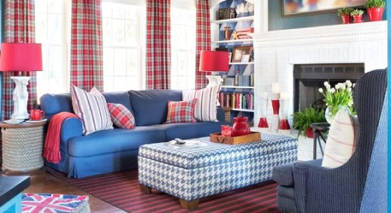 Houndstooth fabric upholstered on ottoman blue living room kravet fabric
