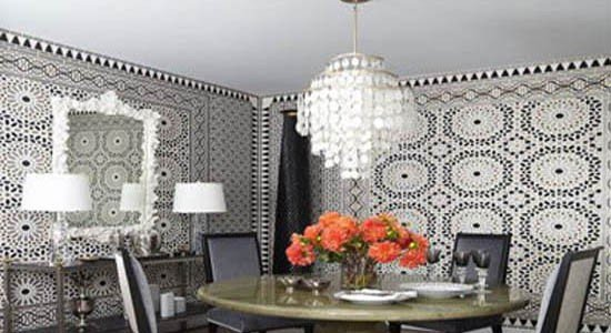 metallic wallpaper black white gray pattern wall living room