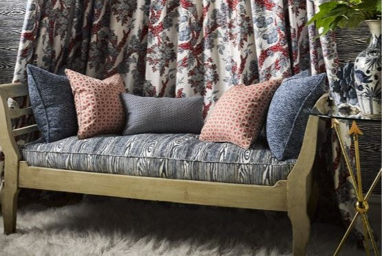Faux Bois Fabric, bench cushion upholstered with Muir Woods fabric