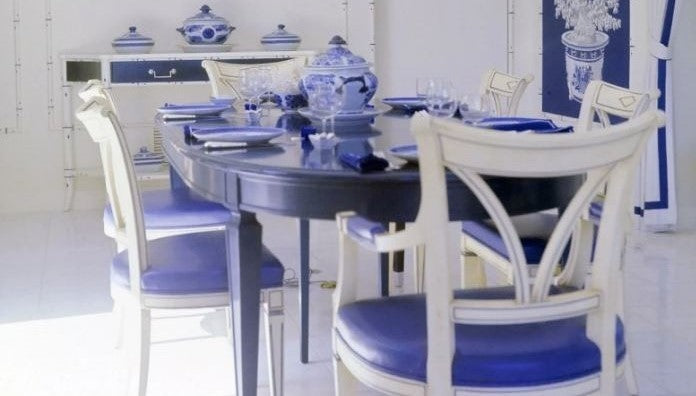 Blue Dining room, blue and white dining room, pantone color of the year 2020