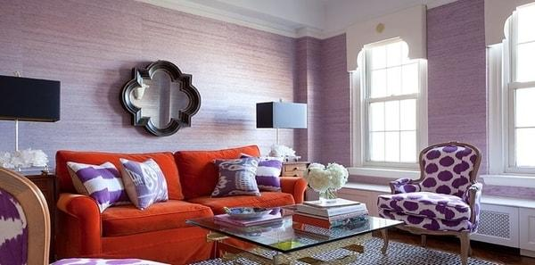 Purple and Orange Living Room by Lilly Bunn
