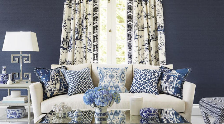 Blue and White Living Room with Asian Inspired fabrics