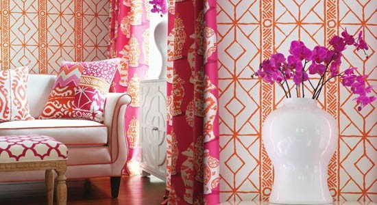 Stroheim Fabric, throw pillows and drapes using abstract and eye-catching patterns.