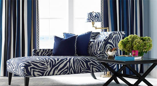 animal fabrics zebra blue white chair lamp couch