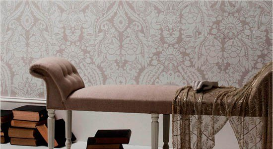 damask wallpaper brown white wall