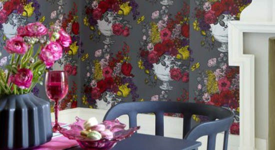 floral wallpaper romantic feminine flowers white red pink yellow gray wall