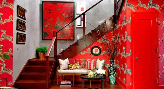 animal wallpaper red white zebras black arrows wood stairs