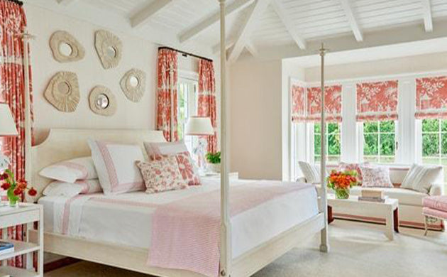 Pantone Living Coral Toile Bedroom by Phoebe Howard for Veranda Magazine