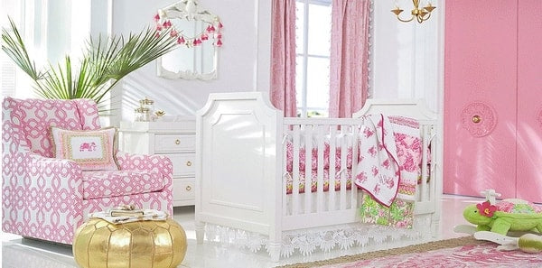 A BABY GIRL'S NURSERY WITH LILLY PULITZER FABRICS AND WALLPAPER