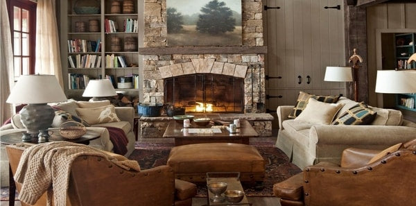 Cabincore, winter decor, white sofa, stone, leather, wood panels