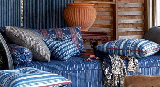 striped fabrics traditional contemporary blue red white couch sofa cushions
