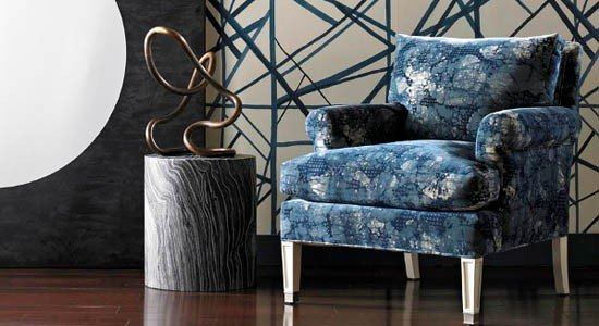 abstract fabric blue white chair decor