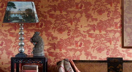 toile wallpaper red brown yellow asian scenery illustrations traditional botanical