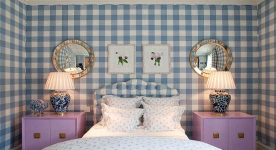 checks and plaids wallpaper traditional blue white squares bedroom