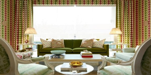 red and green living room featuring Brunschwig cevennes fabrics