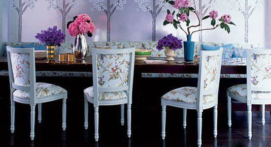 Cole & Son Fabric white chairs with a floral print fabric