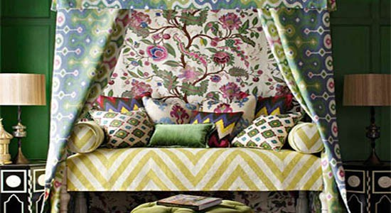 martyn lawrence bullard fabrics wallpaper green blue yellow white pink bed cushions