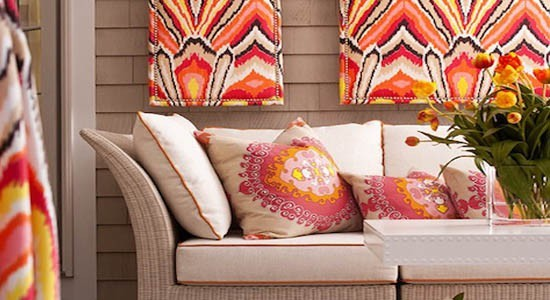 trina turk fabrics orange red yellow white pink brown cushions sofa couch