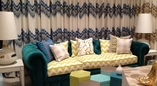 geometric fabrics blue green yellow gold pattern couch sofa curtains