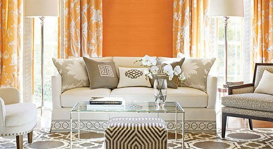 mary mcdonald fabrics orange white gray sofa couch curtains rug carpet