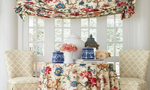 Travers fabric used as a table cloth and drape.