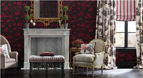 toile fabrics illustrations  red black wall victorian living room chair curtains