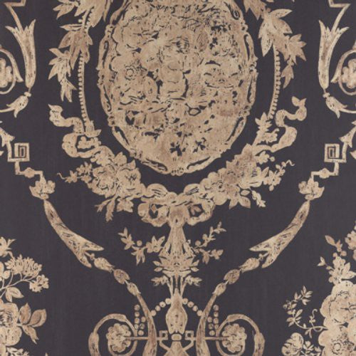 Ralph Lauren Abbeywood Damask Gilded Ebony * Wallpaper - Wallpaper