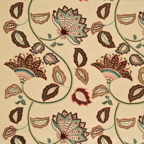 Mulberry Anastasia Linen Red/Aqua Fabric - Fabric