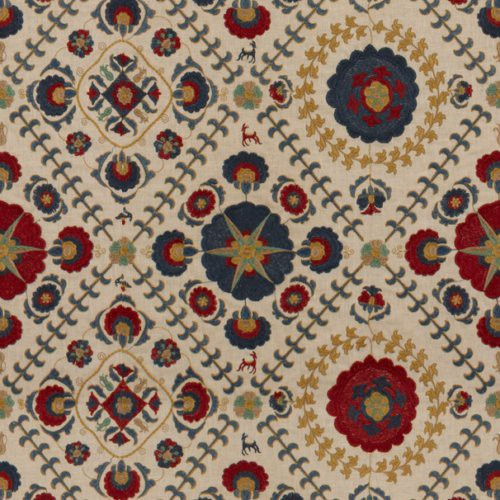 Lee Jofa Ayla Trellis Indigo/Red Fabric - Fabric
